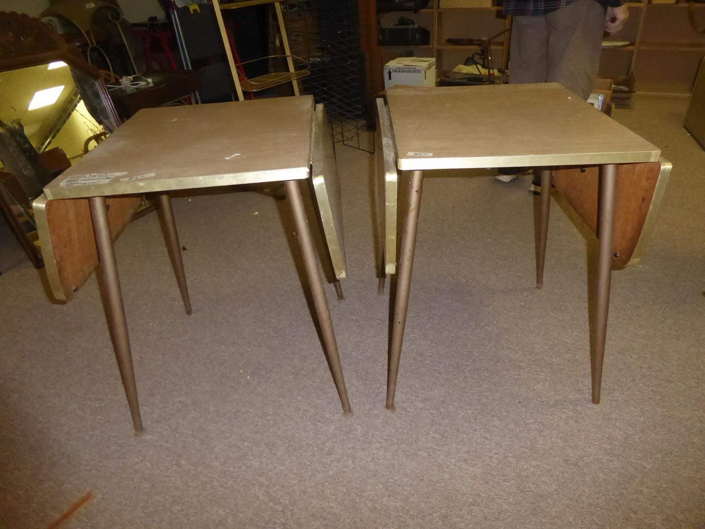 Lot # 67 - Pair Vintage Formica Top Drop Leaf Tables (main image)