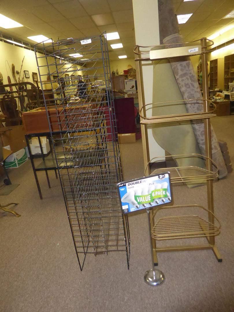 Lot # 68 - Two Metal Display / Storage Racks & Sign (main image)