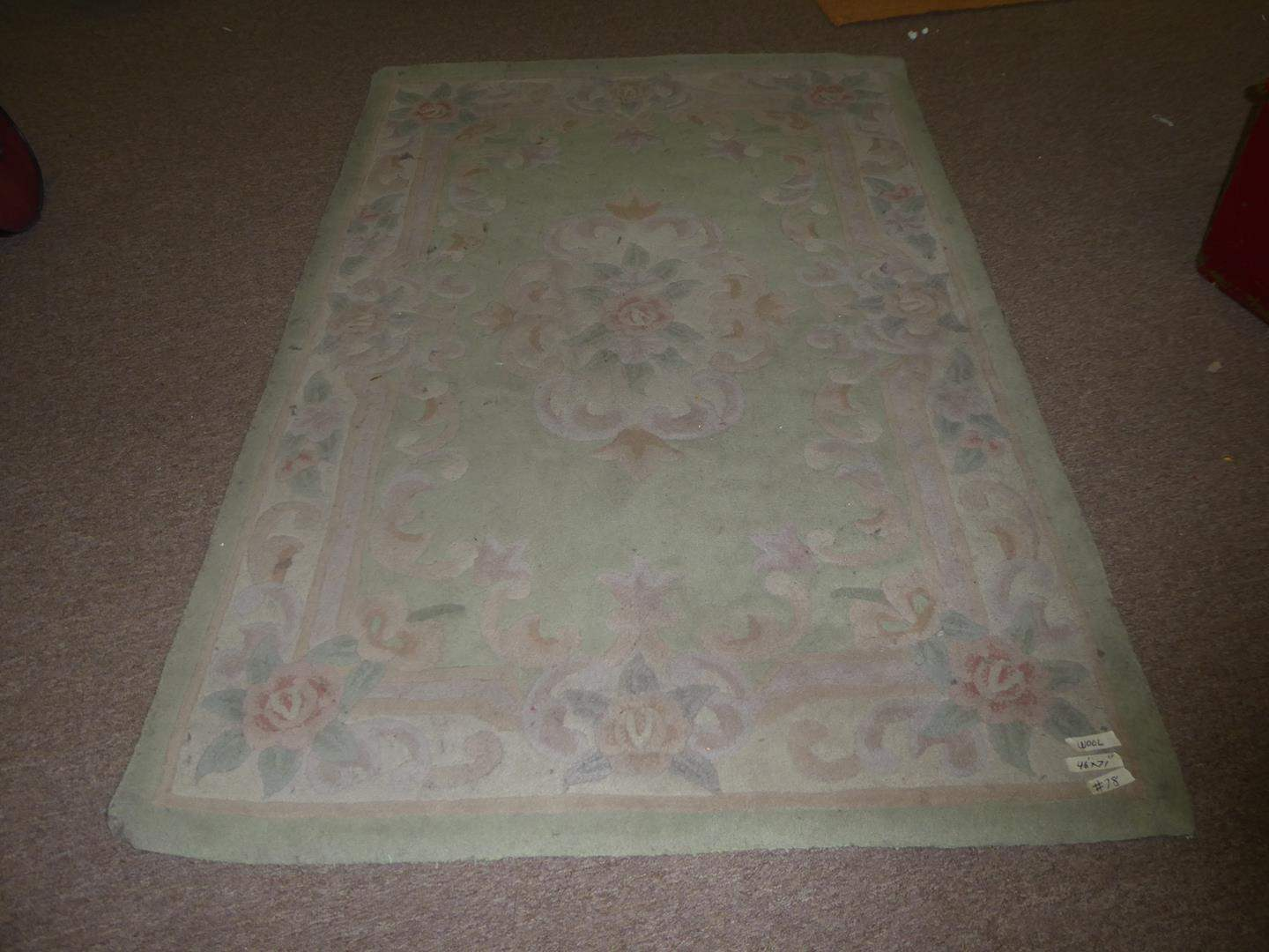 Lot # 78 - Floral Wool Area Rug (main image)