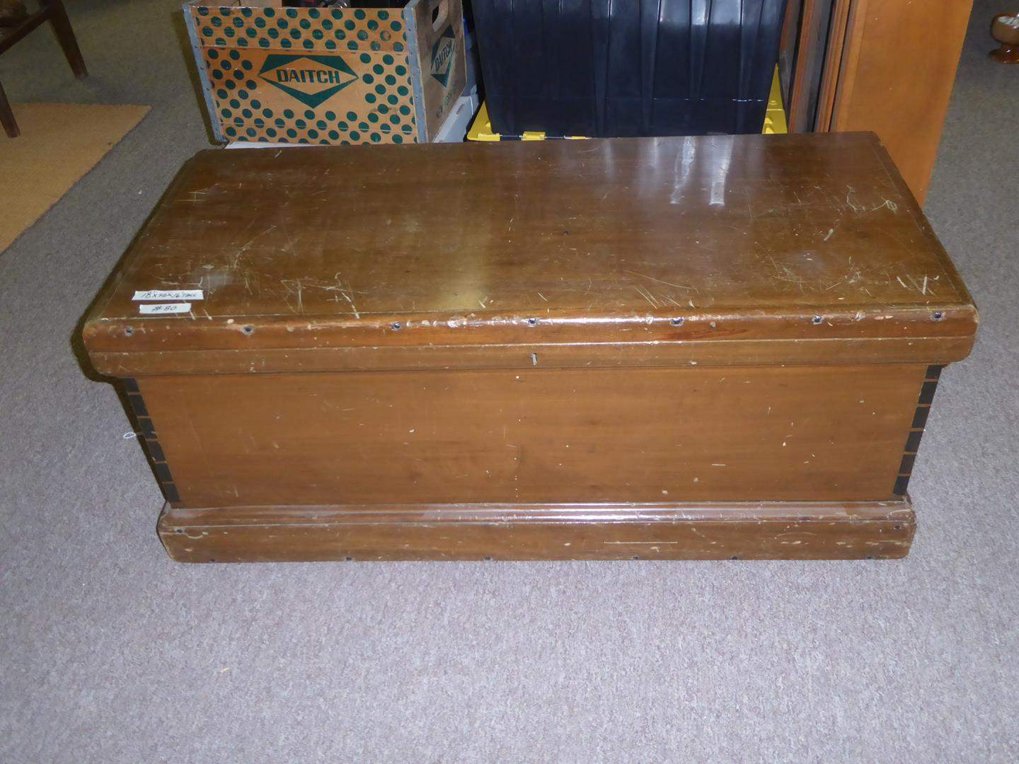 Lot # 80 - Antique Solid Wood Blanket Chest w/Dovetailed Corners & Square Nails (main image)