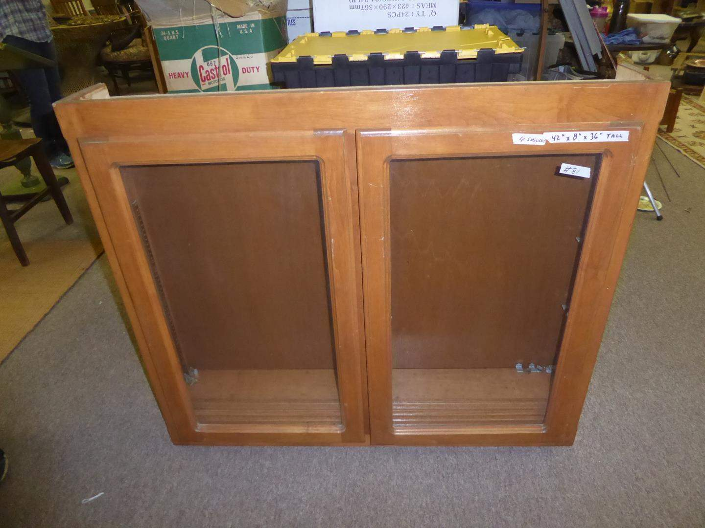 Lot # 81 - Small Wooden Cupboard w/Four Shelves & Glass Doors (main image)