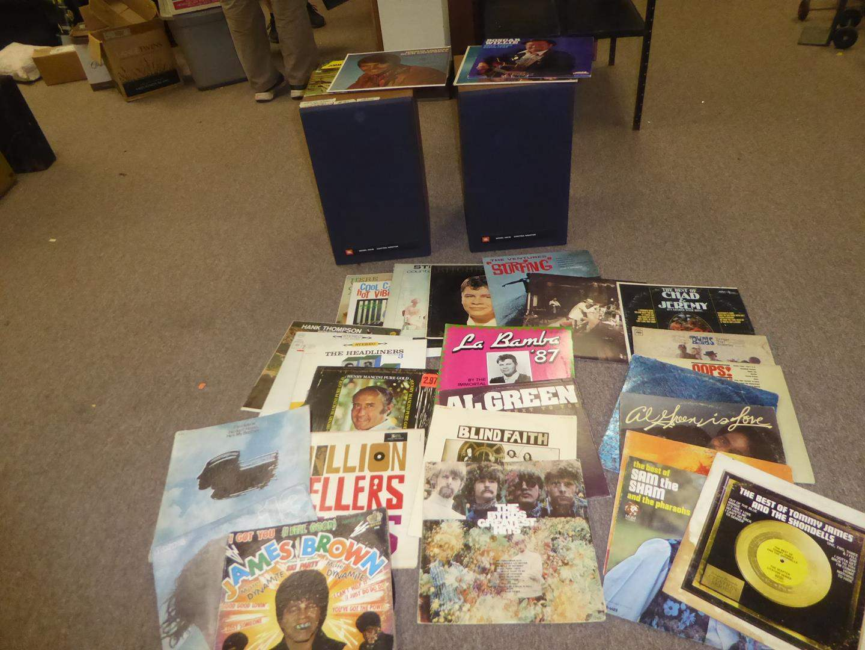 Lot # 83 - Pair JBL Speaker Boxes & 30 Vinyl Records (main image)