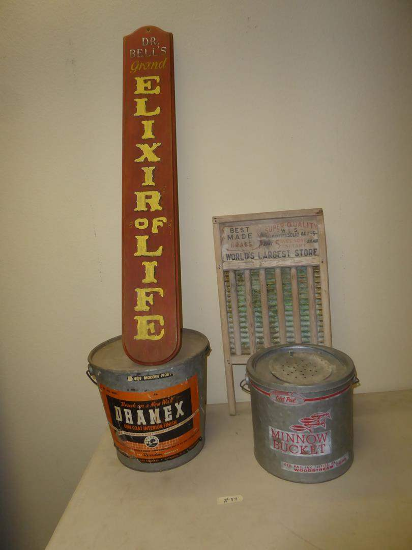 Lot # 84 - Vintage Elixir of Life Wooden Sign, Dramex Can, Advertising Washboard & Minnow Bucket (main image)