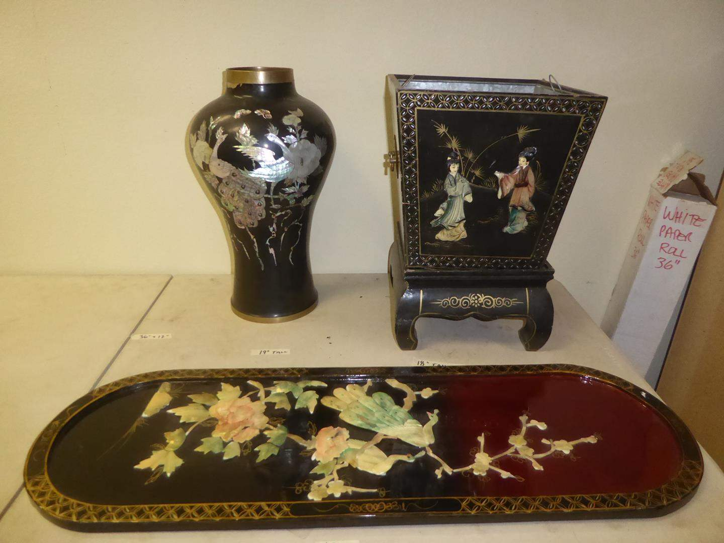 Lot # 89 -Vintage Black Lacquer Mother of Pearl Oriental Vase, Oriental Planter & Tray (main image)