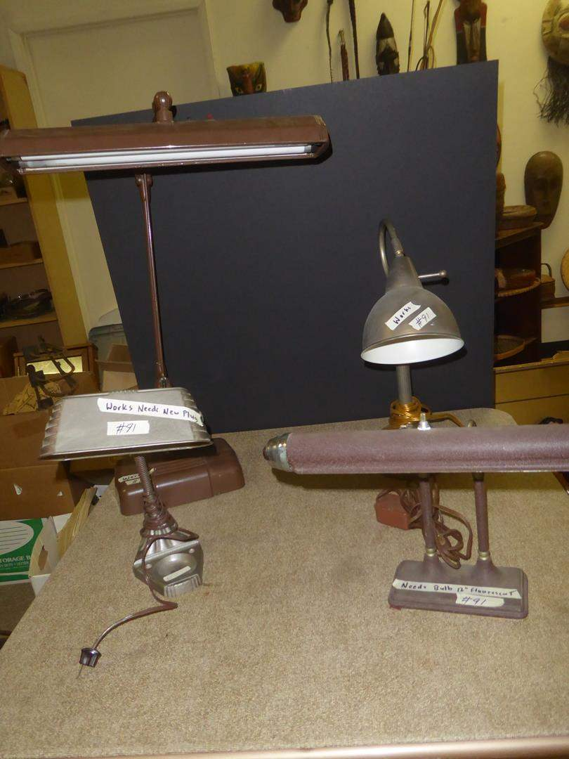 Lot # 91 - Four Vintage Desk Lamps (main image)