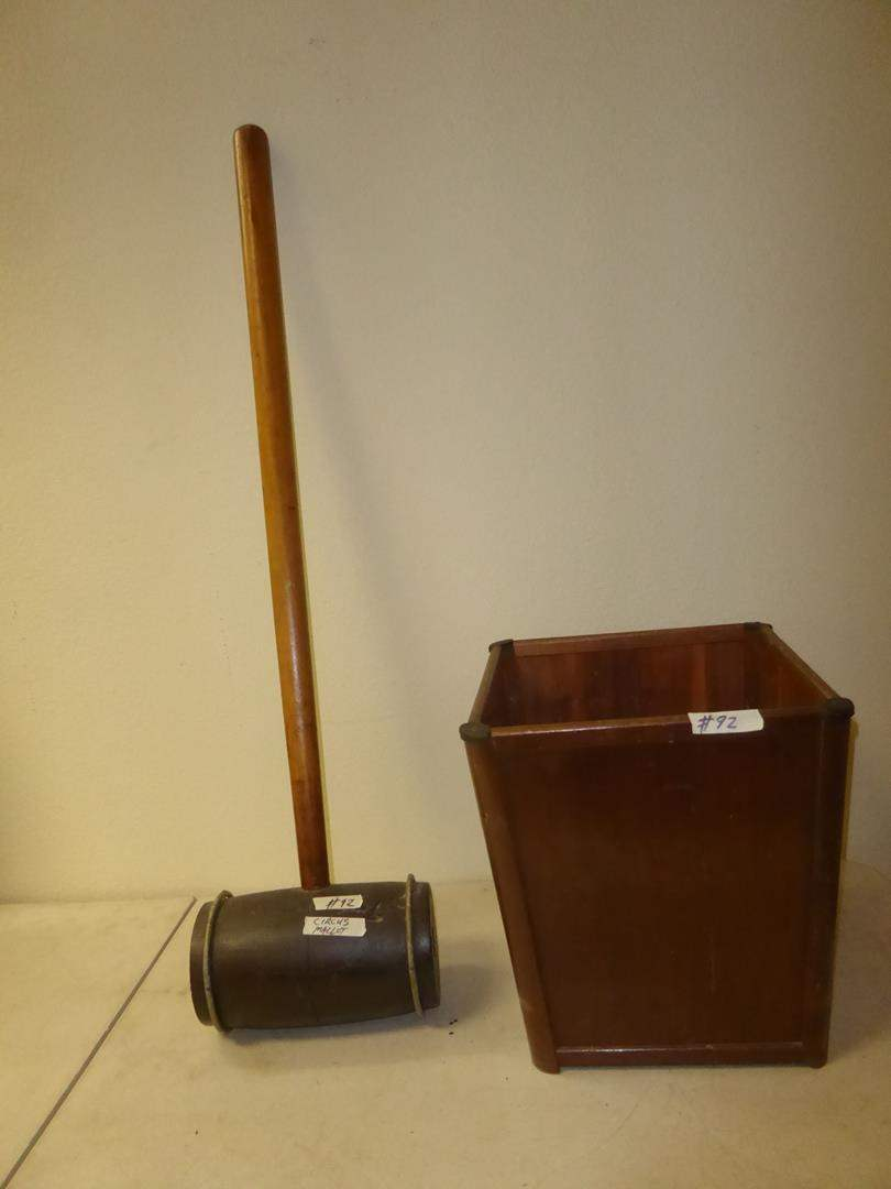 Lot # 92 - Large Circus Mallet & Wooden Trash Can (main image)