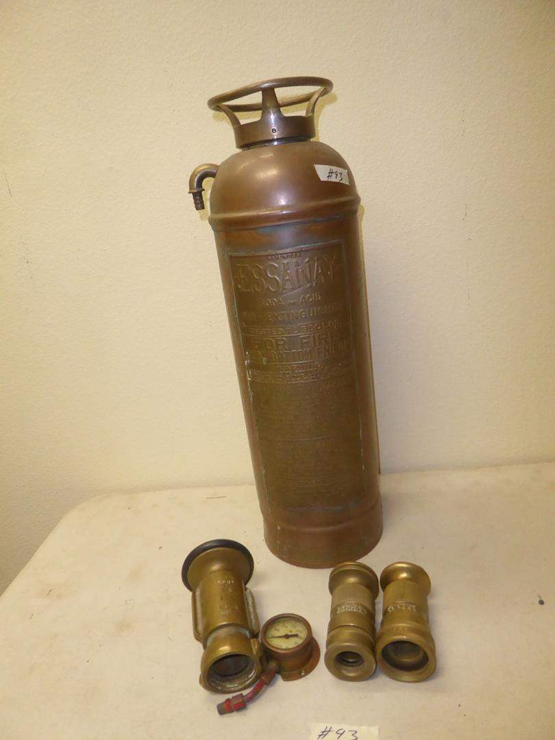 Lot # 93 - Vintage Essanay Soda and Acid Fire Extinguisher, Brass Fire Hose Nozzles & Gauge (main image)