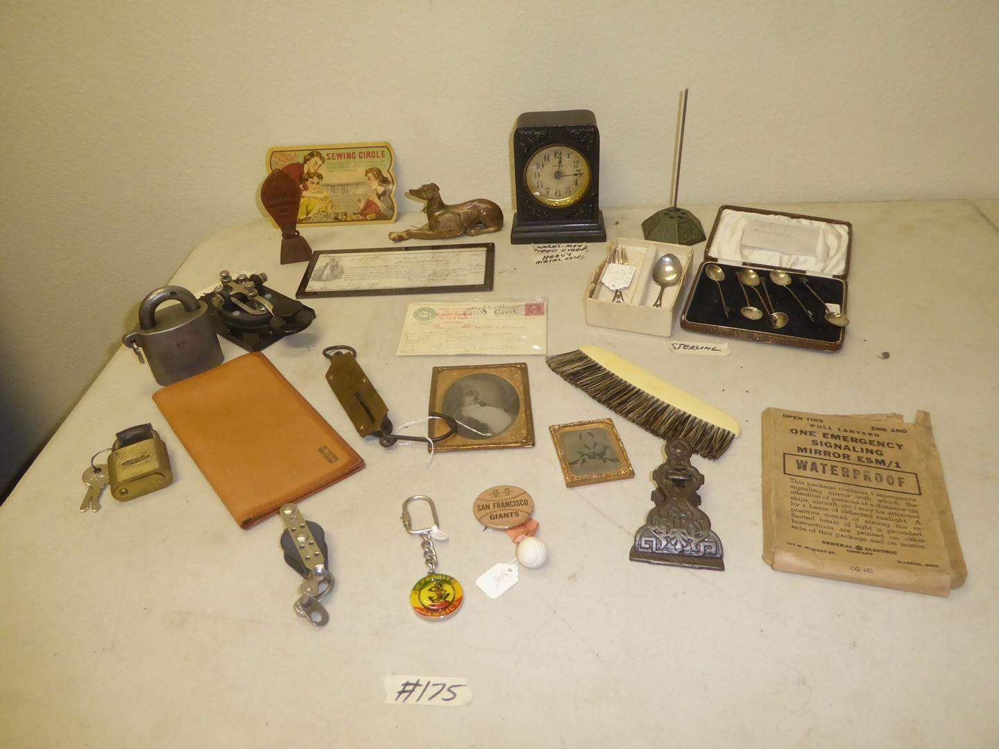 Lot # 175 - Emergency Signaling Mirror, Sterling Silver Spoons, Daguerreotypes, Westclox Alarm Clock & More Vintage Items (main image)