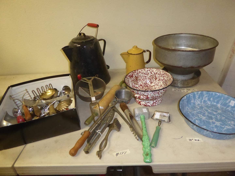 Lot # 177 - Vintage Kitchen Utensils, Enamelware, Cream Separator & Coffee Pots (main image)