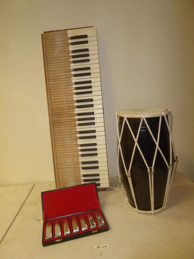 Lot # 179 - Soul Man Harmonicas, Wooden Piano Keys Art & Bongo Drum (main image)