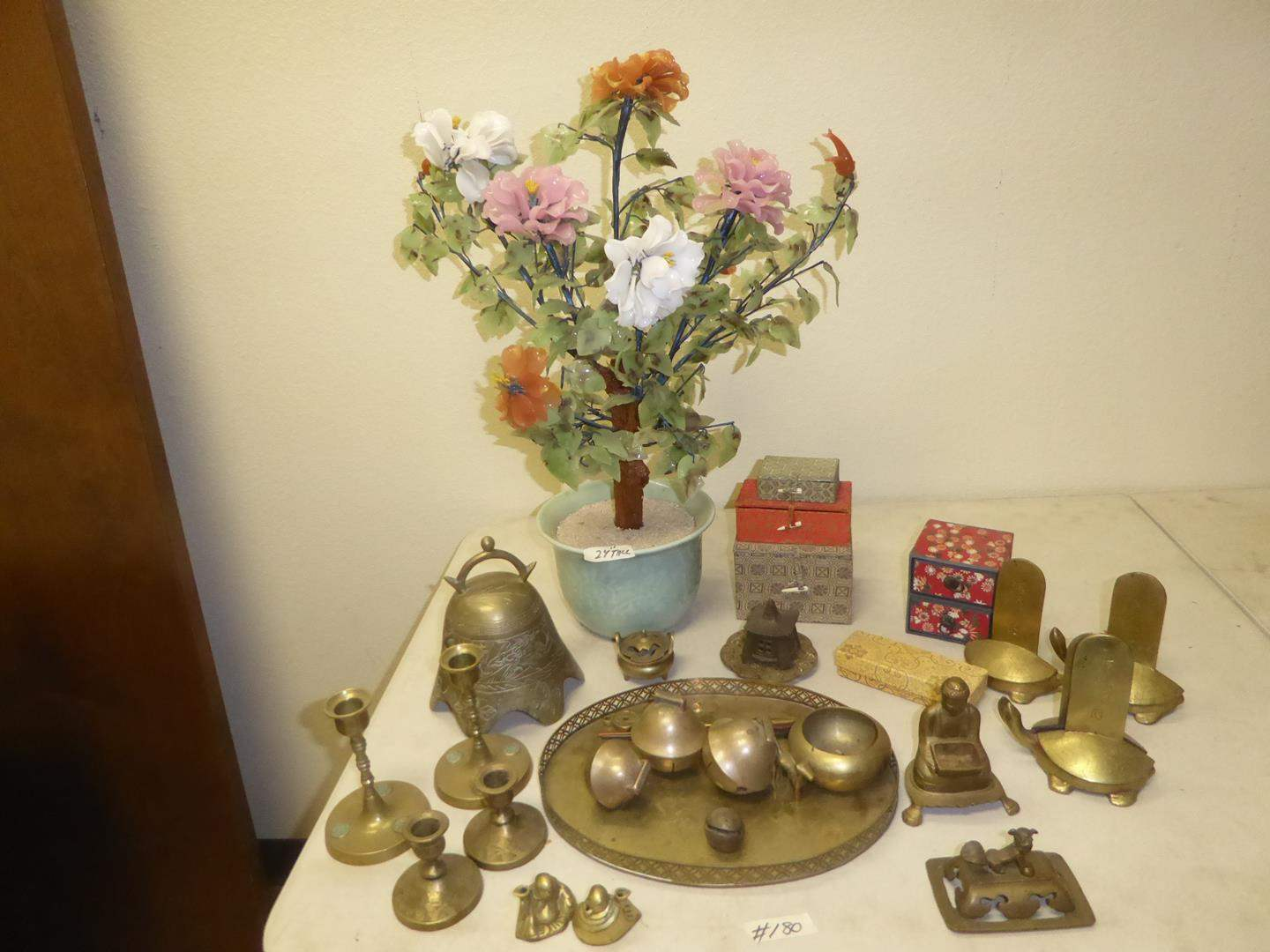 Lot # 180 - Oriental Stone Jade Tree Flower, Brass Turtle Bookends, Brass Buddhas, Brass Tray, Candle Holders & More (main image)