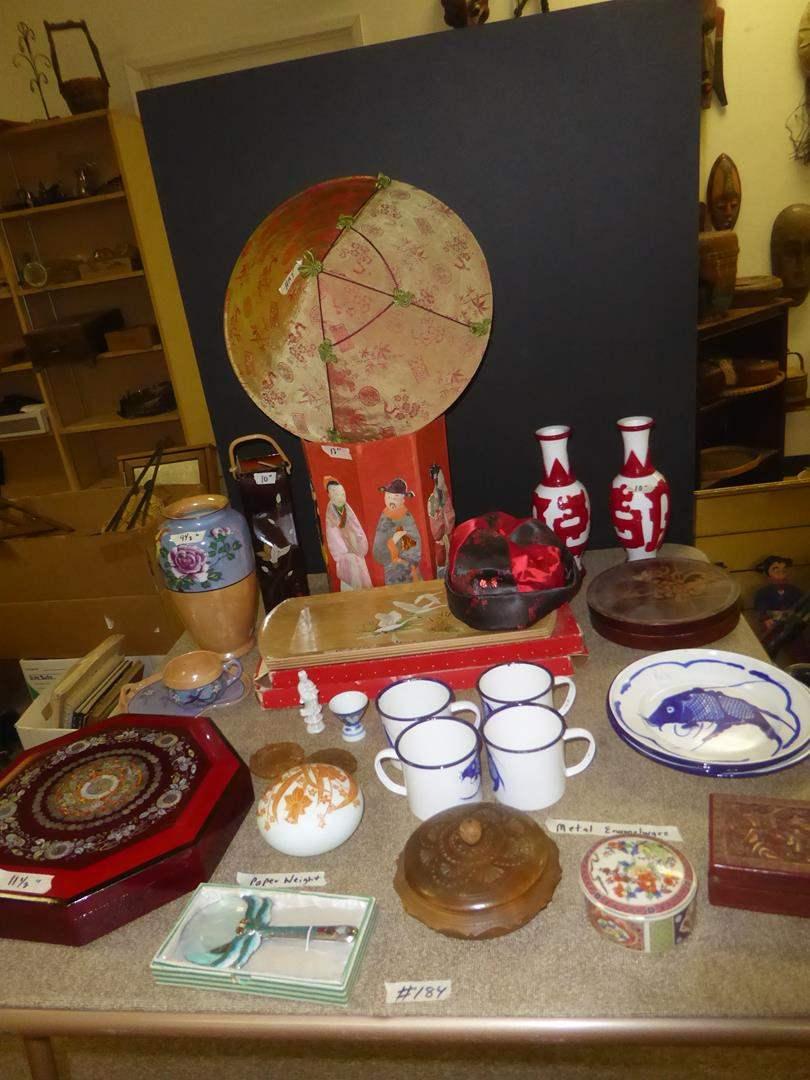 Lot # 184 - Korean Fancy Food Box, Art Glass Paperweight, Trinket Boxes, Enamelware Koi Fish Dishes, Vases, Trays & More (main image)