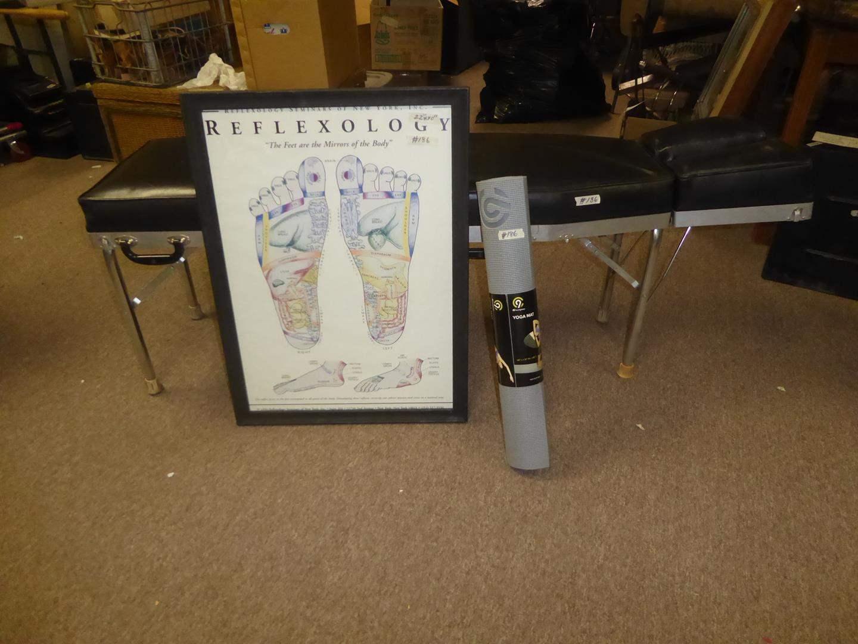 Lot # 186 - Framed Reflexology Chart, Yoga Mat (New) & Portable Folding Massage Table (main image)