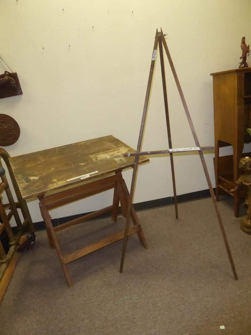 Lot # 187 - Old Wooden Drafting Table & Easel (main image)