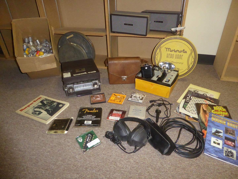Lot # 189 - Empty Film Canisters, Aiwa 17 Transistor Stereo, Speakers, Polaroid Camera, Loop Antennae, Mics, Strings & Records (main image)