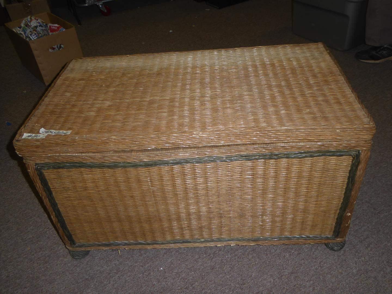 Lot # 190 - Vintage Wicker Blanket Chest (main image)