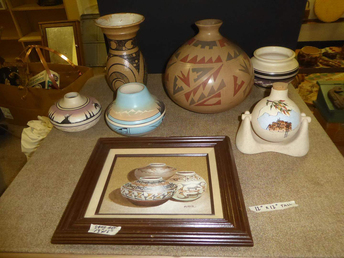 Lot # 191 - Framed Sand Art Painting by Marie, Signed Navajo Pottery & Native American Pottery (main image)
