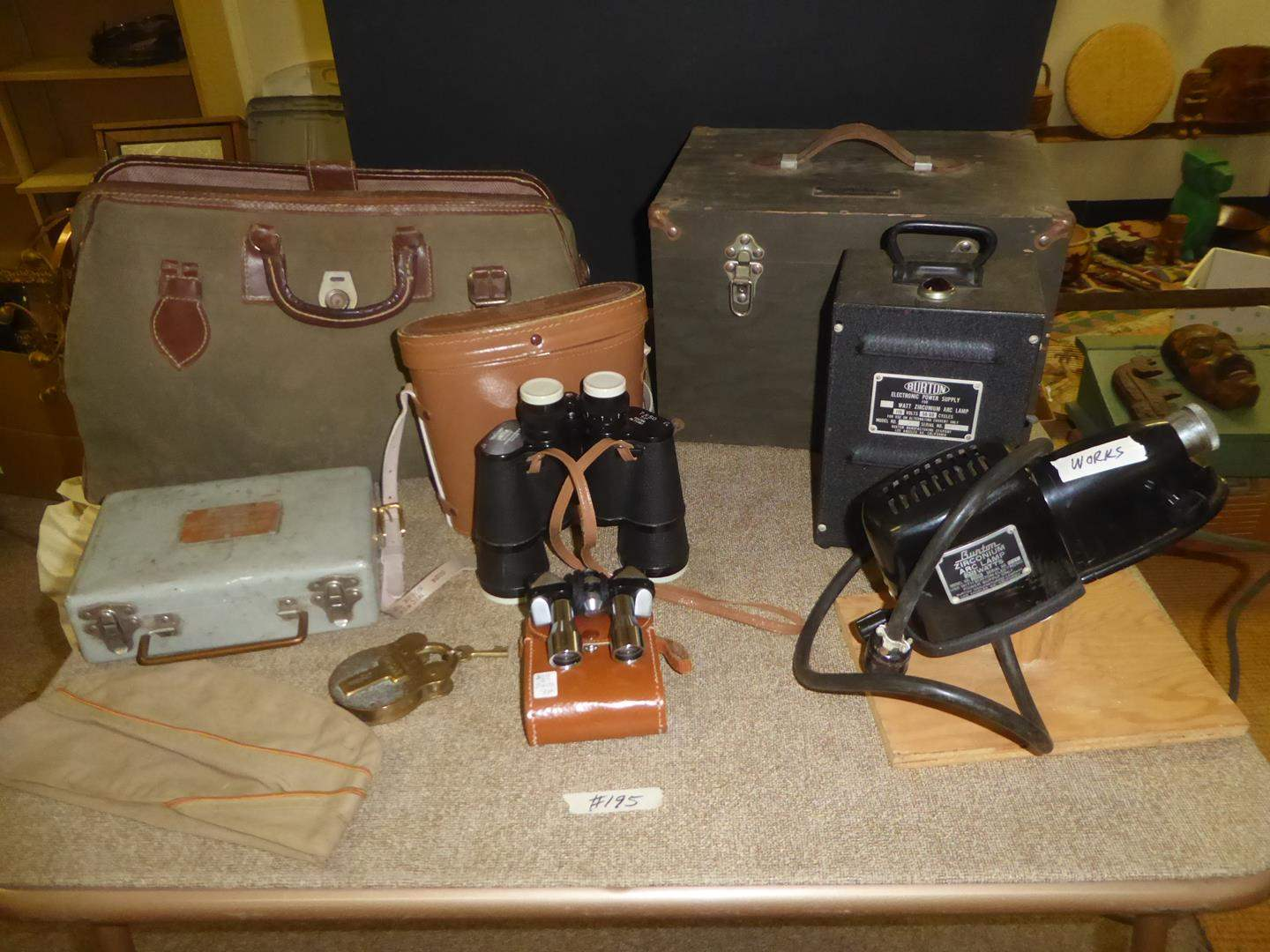 Lot # 195 - Vintage U.S.N. Lock w/Key, Navy Box, Tote Bag, Binoculars & Army Astrograph Type A-1 (main image)