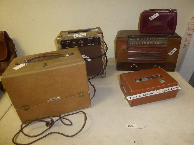 Lot # 181 - Vintage Maxell Tape Recorder, Motorola Tube Radio, GE Short Wave Radio, Marathon Amplifier & Detrola Radio (main image)