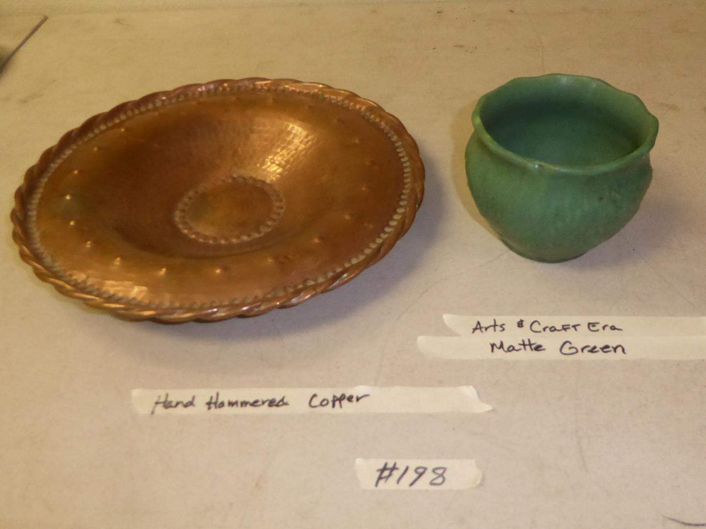 Lot # 198 - Hand Hammered Copper Wall Hanging Art Bowl & Small Arts and Crafts Era Matte Green Pottery Planter (main image)