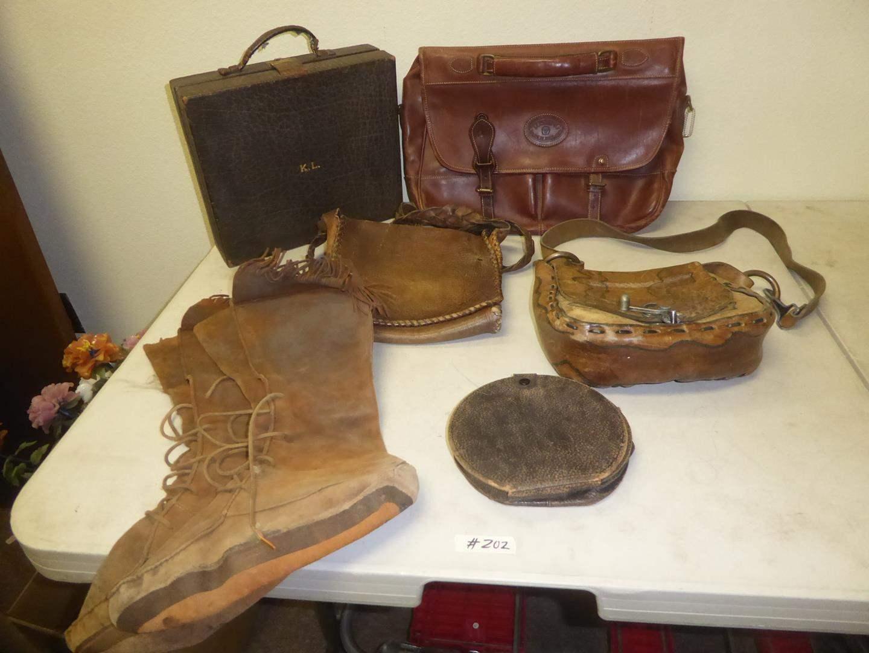 Lot # 202 - Vintage Moccasin Boots, Leather Purses, Leather Satchel Bag & Interesting Case (main image)