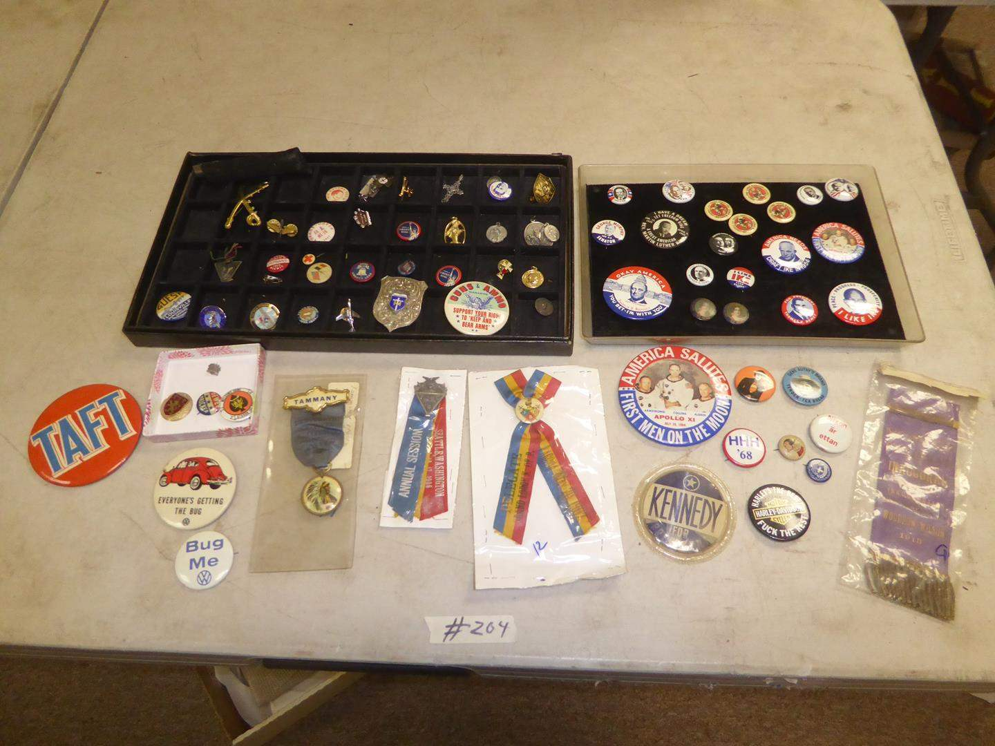 Lot # 204 - Vintage Political & Other Buttons, Ribbons & Religious Medals (main image)