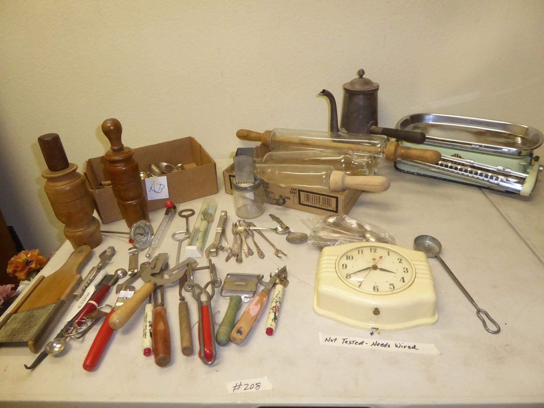 Lot # 208 - Vintage Kitchen Utensils, General Electric Clock & Stube Scale (main image)