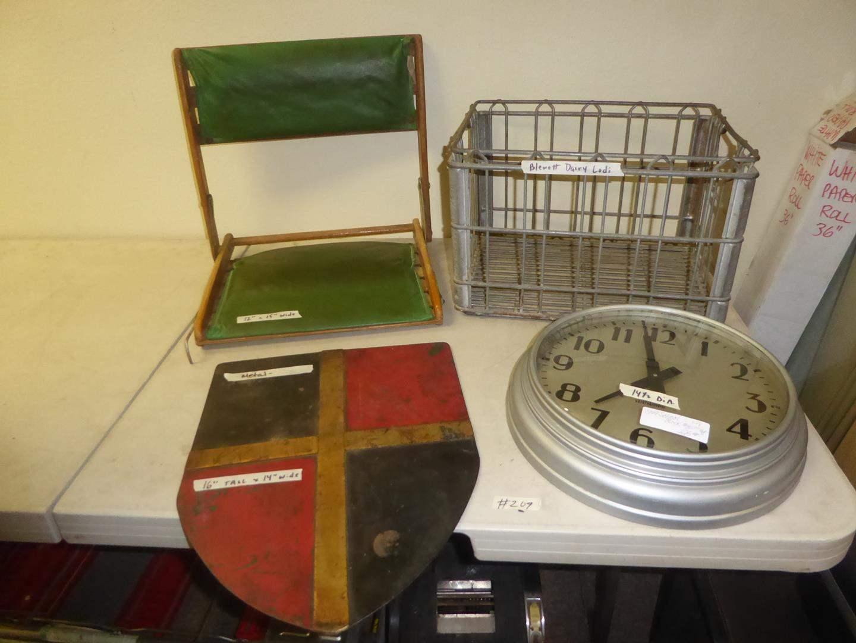 Lot # 209 - Vintage Metal Shield, Standard School Clock, Take-A-Long Backrest & Blewett Dairy Crate (main image)