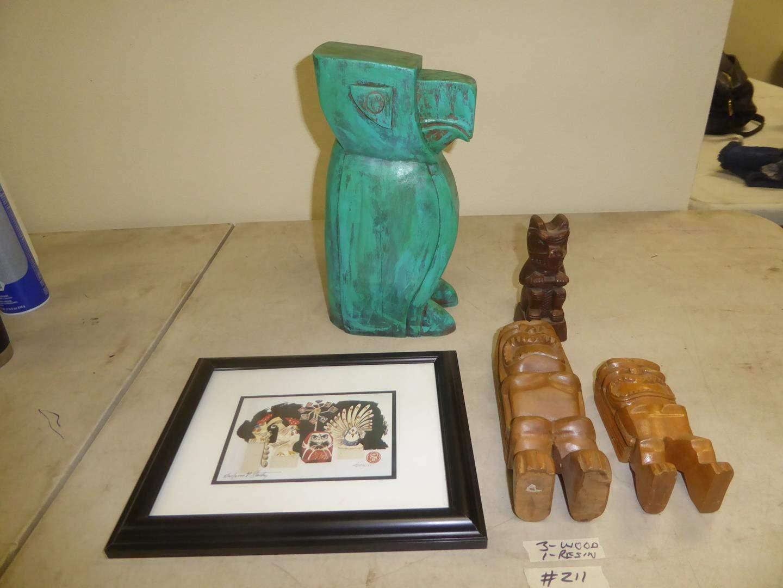 Lot # 211 - Bird Sculpture, Tiki Sculptures & Framed Signed Numbered Print  (main image)
