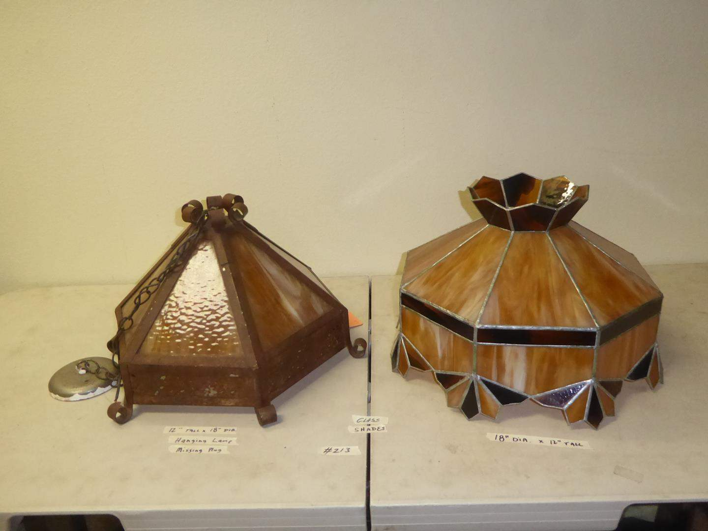 Lot # 213 - Vintage Hanging Glass & Metal Light Fixture & Leaded Stained Glass Lamp Shade (main image)