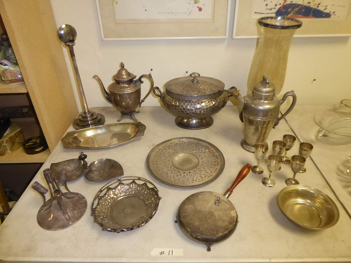 Lot # 10 - Plated Silver Serving Dished & Crackle Glass Candle Holder  (main image)