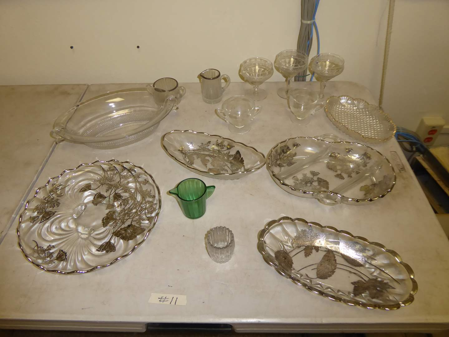 Lot # 11 - Silver Embellished Serving Dishes & Pressed & Etched Glass   (main image)