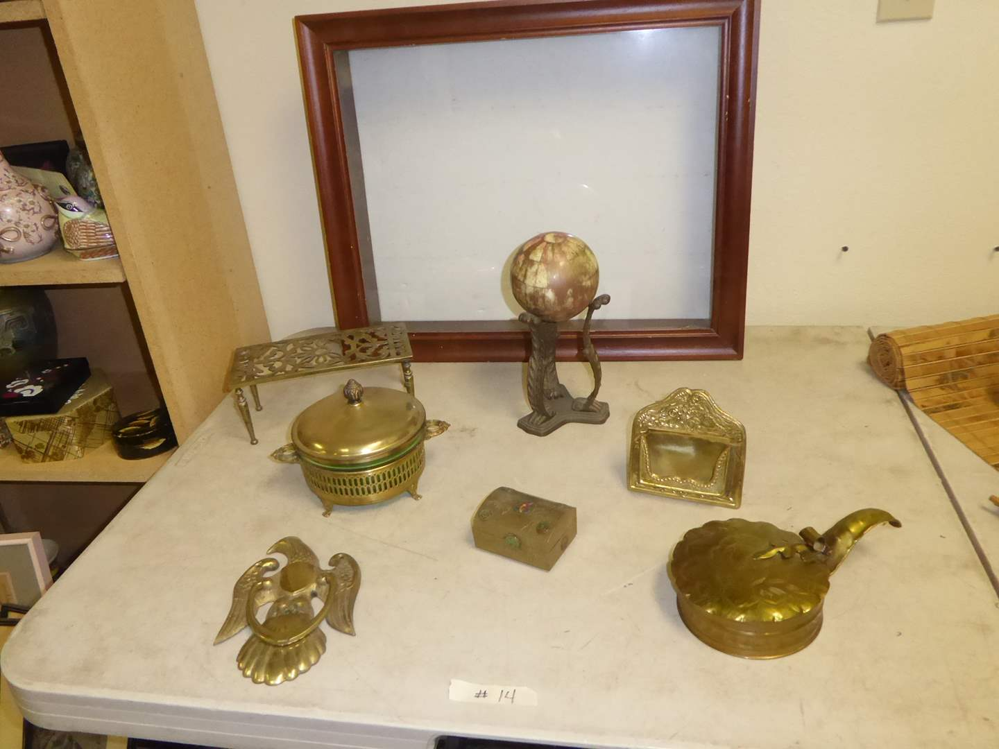 Lot # 14 - Shadow Box & Vintage Brass Collectibles  (main image)