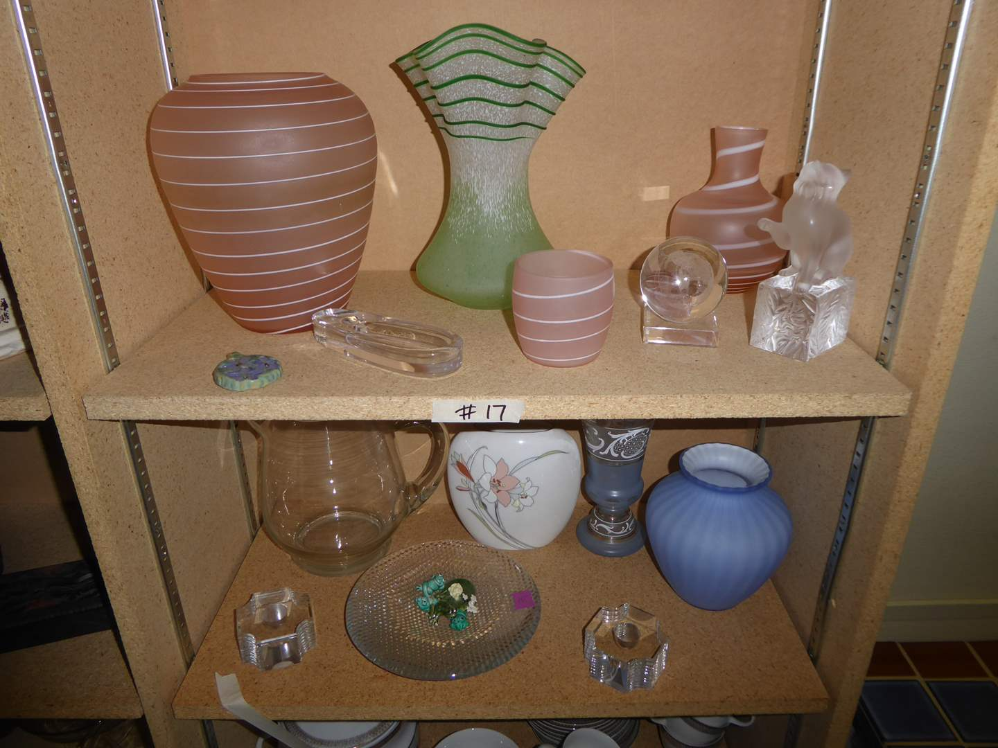 Lot # 17 - 3-D Glass Ball, Frosted Striped Glass Vases & More  (main image)