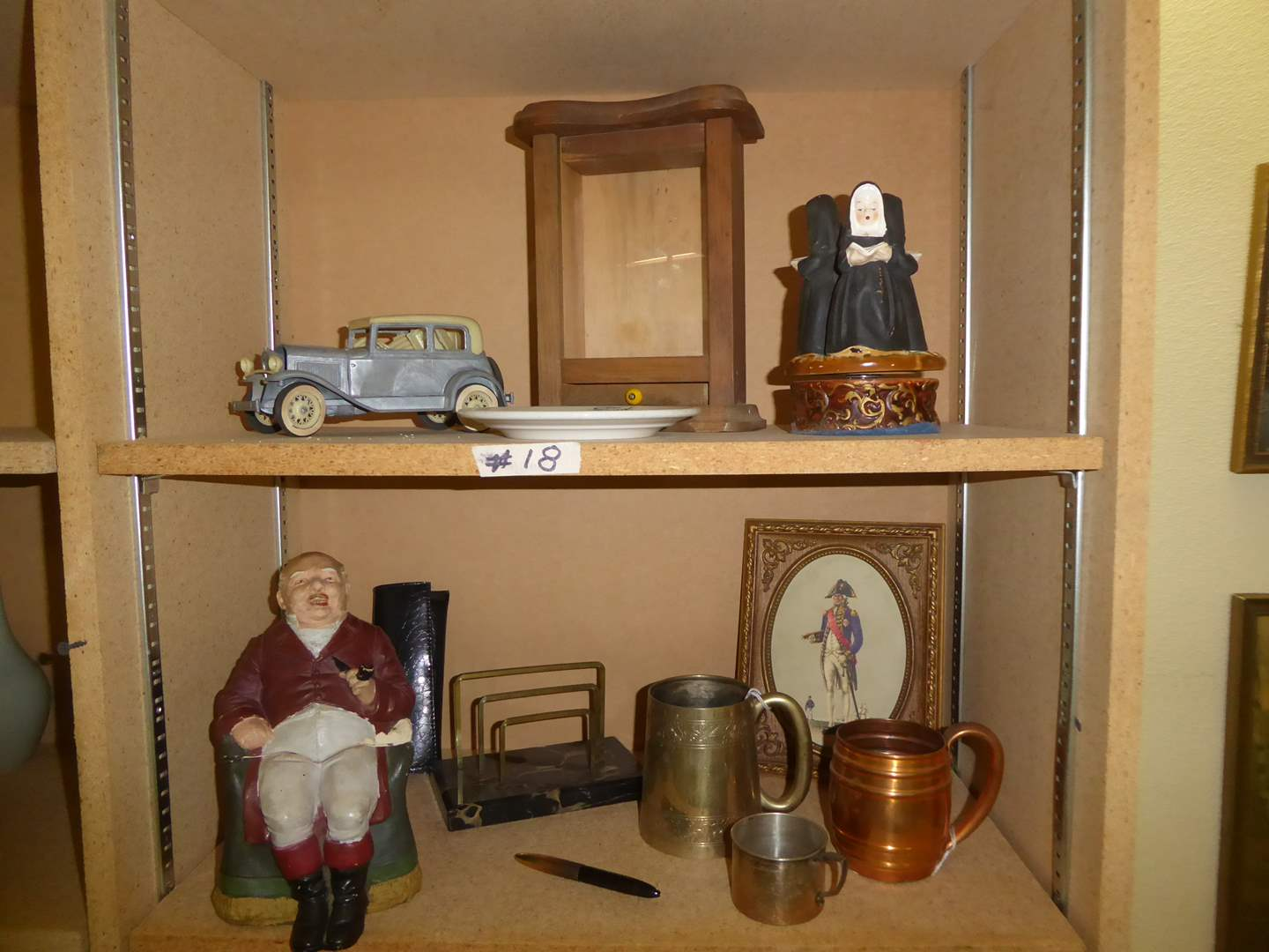 Lot # 18 - Collectibles Lot - Musical Nuns, Ford Plate, Old Man Jar & More  (main image)
