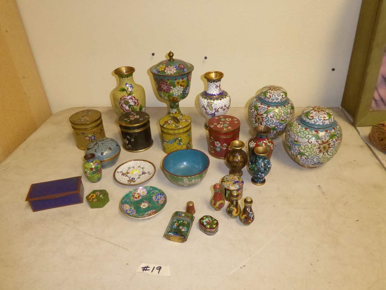 Lot # 19 - Cloisonné Vases & Lidded Jars   (main image)