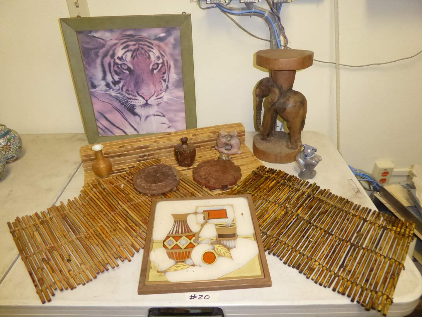 Lot # 20 - Wooden Elephant Stand, Figurines, Placemats & Box  (main image)