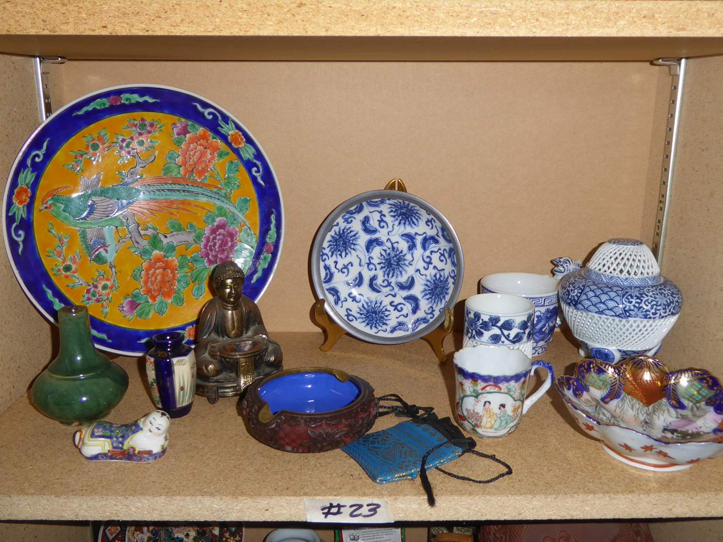 Lot # 23 - Woven Blue & White Porcelain, Decorative Plates & Vases (main image)