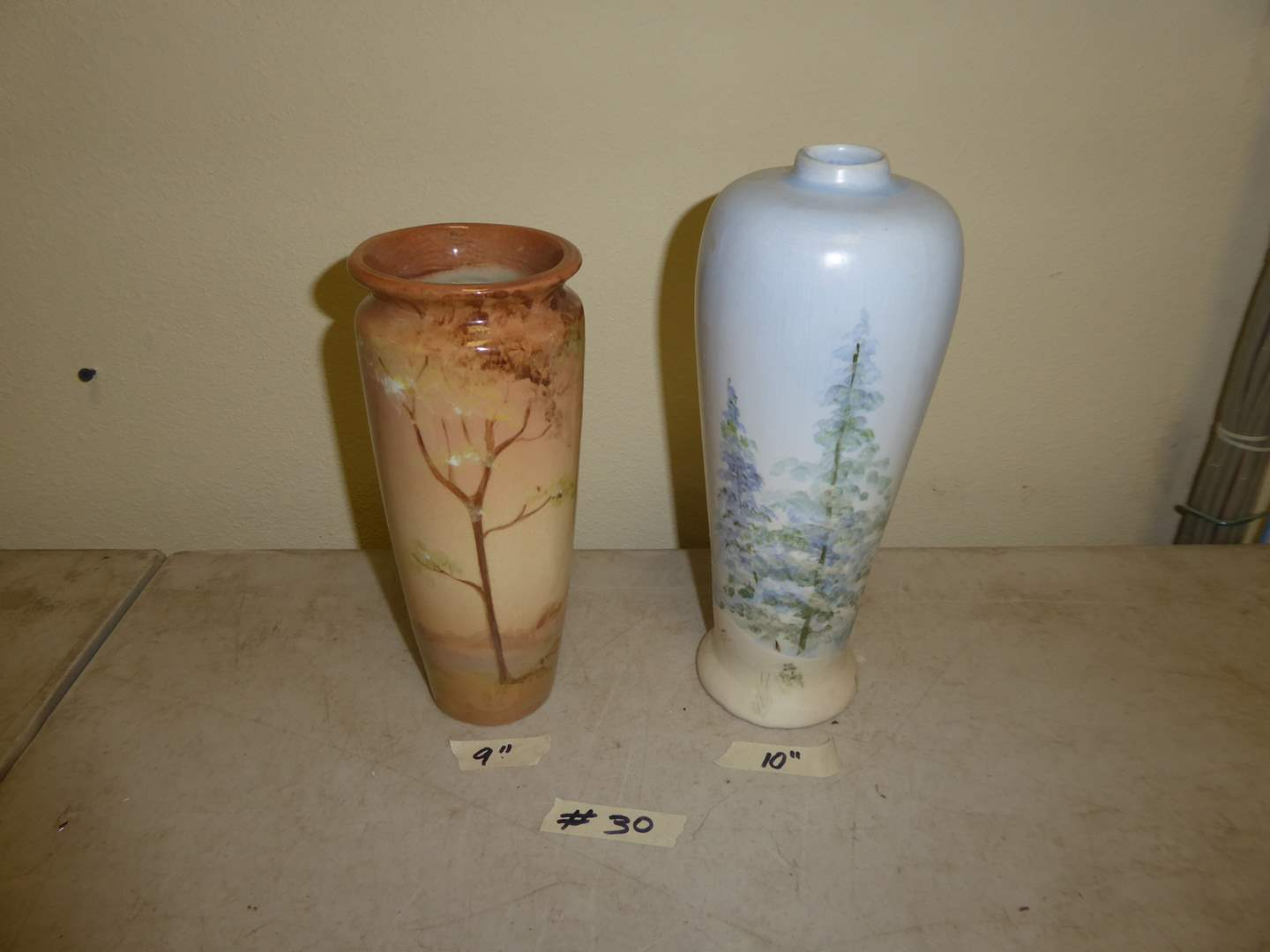 Lot # 30 - Two Beautiful Hand-painted Pottery Vases  (main image)