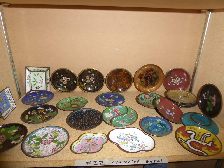 Lot # 32 - Beautiful Enameled Metal Plates  (main image)