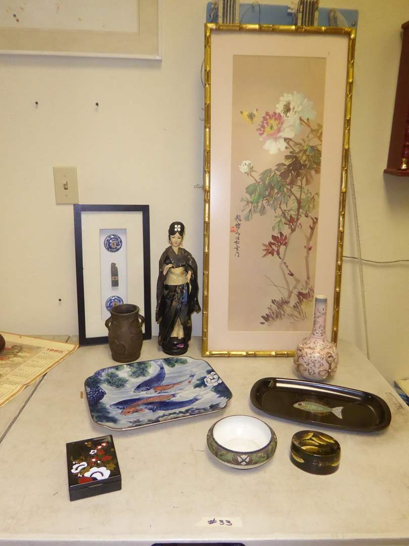 Lot # 33 - Couroc Fish Plate, Pink Floral Ceramic Vase, Framed Art, Chinese Curing Pills & Nippon Bowl  (main image)