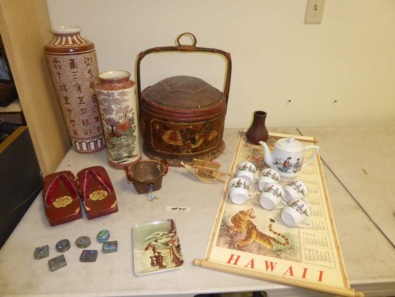 Lot # 34 - Geta, Rice Basket, Reversible 1985 Calendar, Vases & Tea Pot W/Tea Cups (main image)