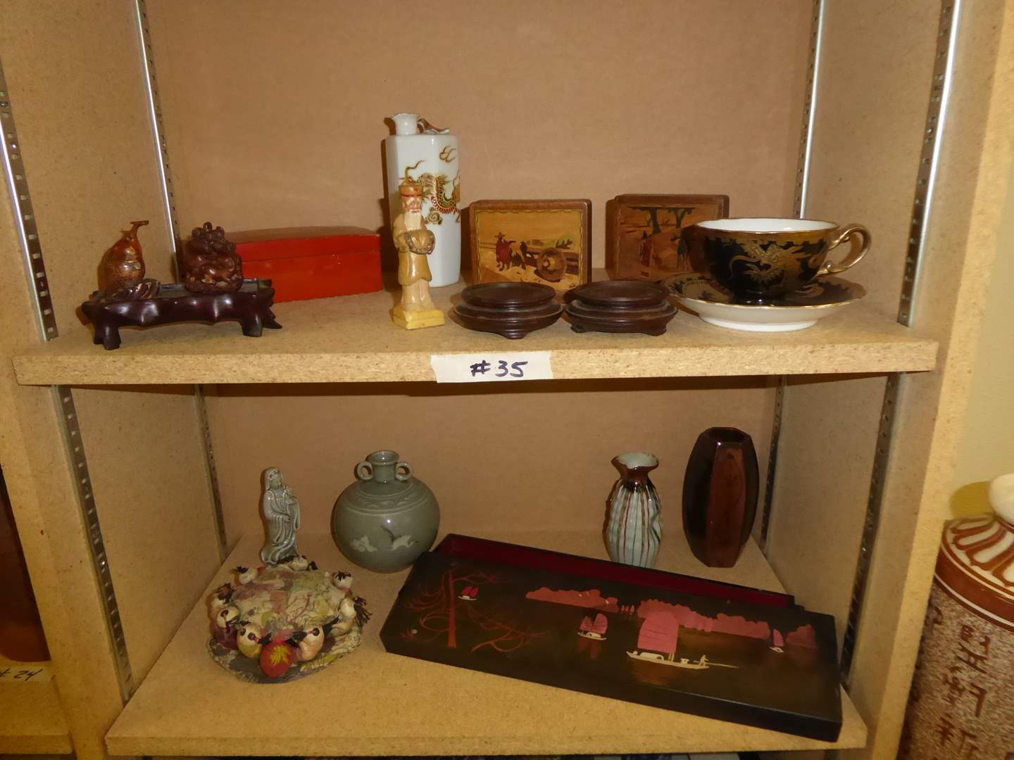 Lot # 35 - Wooden Boxes, Snuff Container & Charm, Ceramic Vases & Sake Container  (main image)