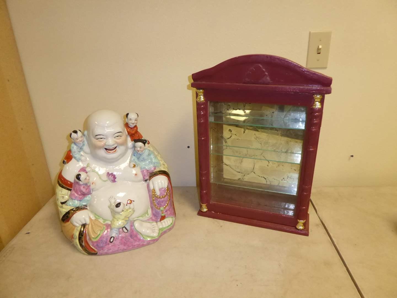 Lot # 40 - Vintage Ceramic Budai/Hotei (Laughing Buddah)  & Mirrored Box  (main image)