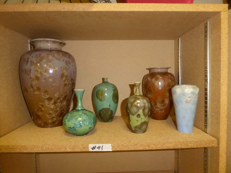 "Lot # 41 - ""John Mankameyer Pottery"" Six Vintage Manka Crystalline Glaze Vases  (main image)"