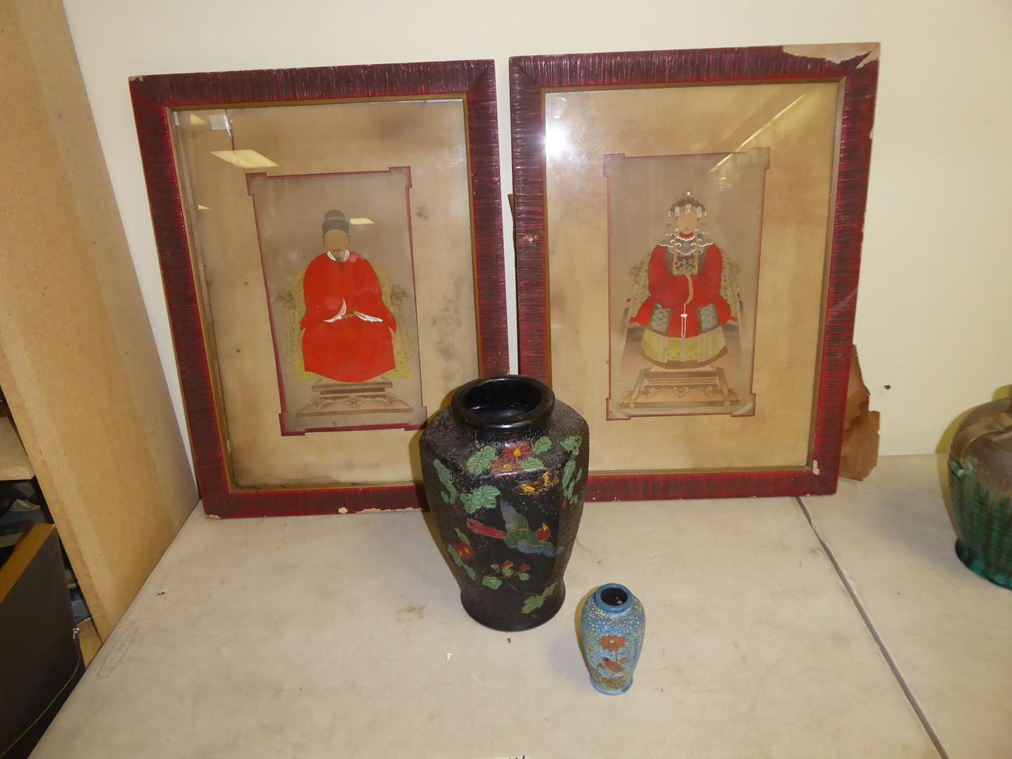 Lot # 44 - Vintage Original Mixed Media Art On Paper & Two Pottery Vases  (main image)