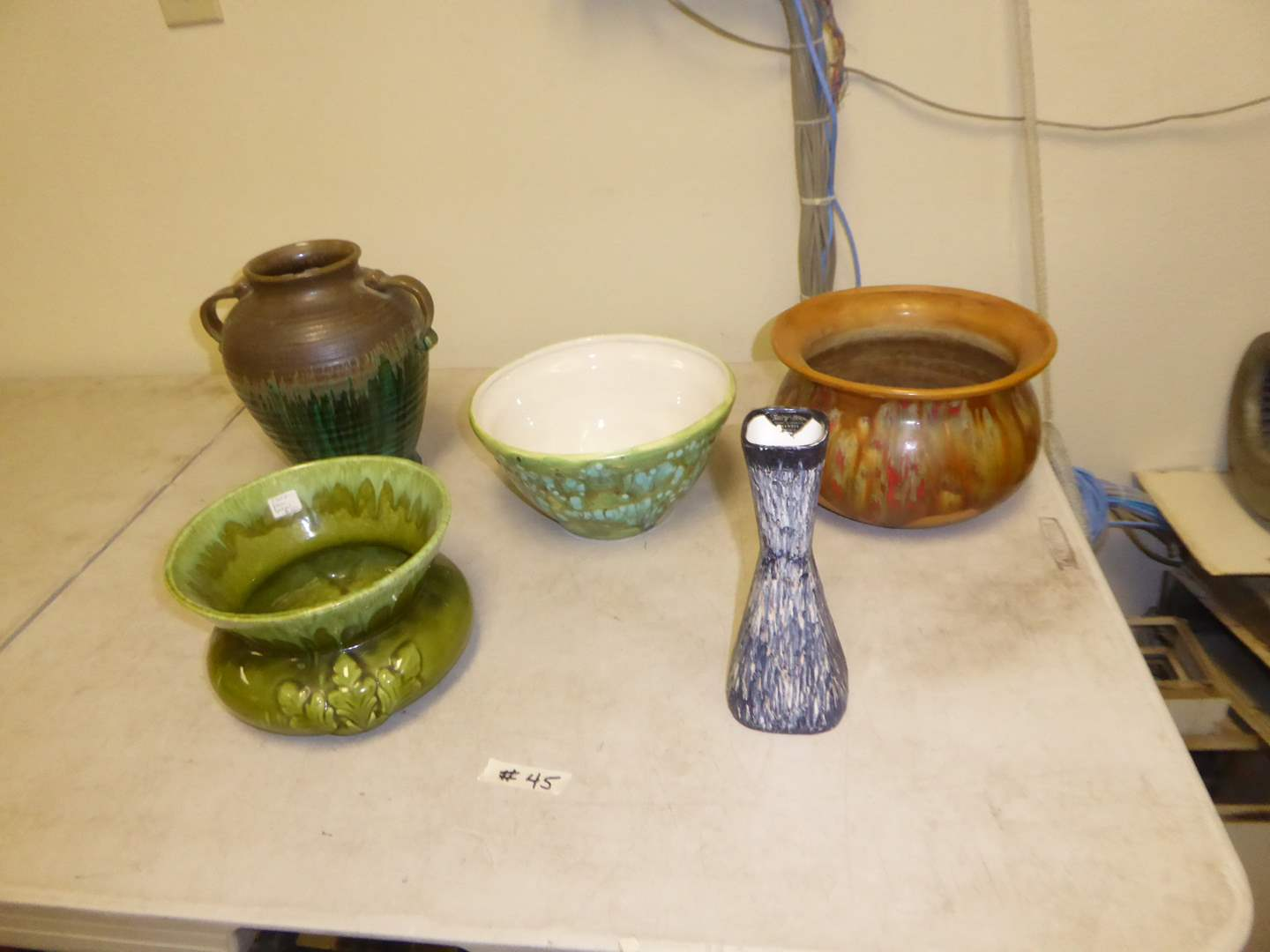 """Lot # 45 - Vintage """"Shawnee Pottery"""" Fairy Wood Vase, Green Spittoon & Other Pottery     (main image)"""