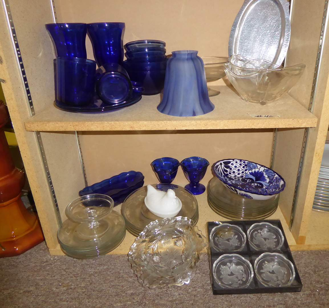 Lot # 46 - Etched Stemware & Miscellaneous Clear & Blue Glass  (main image)