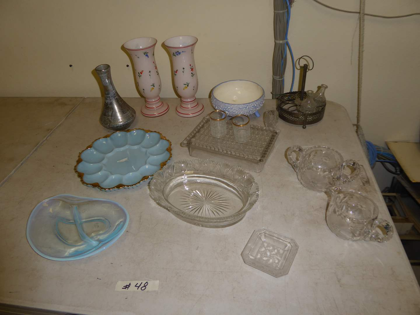 Lot # 48 - Hand Painted Stangle Vase, Delphite Blue Milk Glass Plate, Opalescent Glass Bowl & More  (main image)