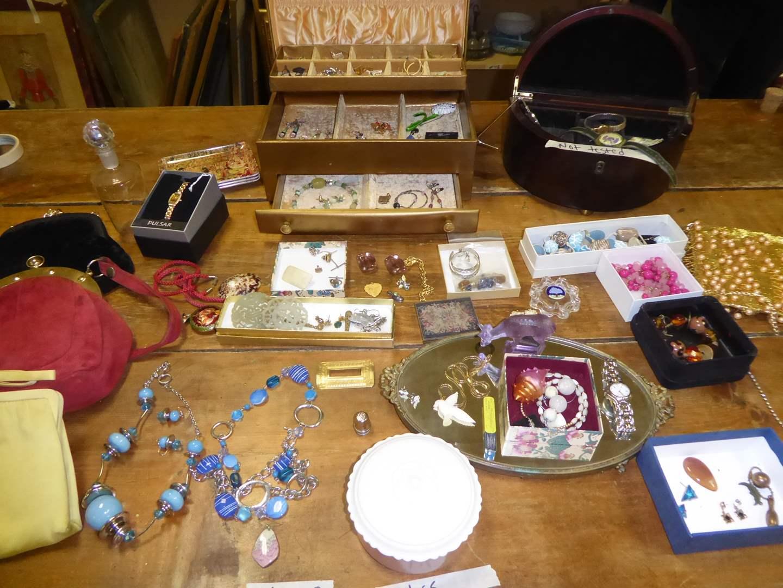 Lot # 229 - Costume Jewelry, Purses, Glass Trinket Box & Pig Skin Wallet  (main image)